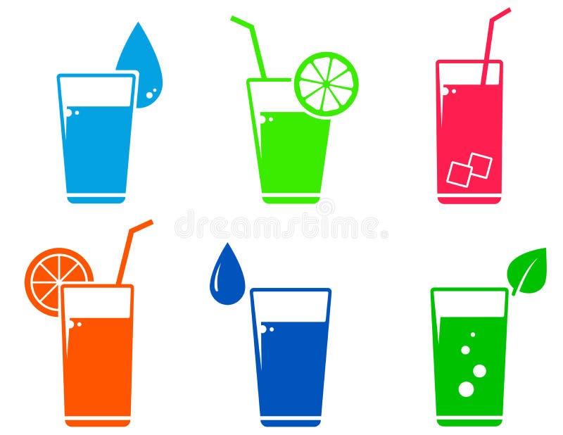 Kleurrijke cocktailreeks royalty-vrije illustratie