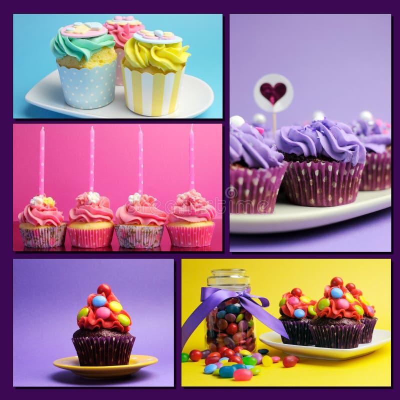 Kleurrijke collage van heldere kleur cupcakes stock foto