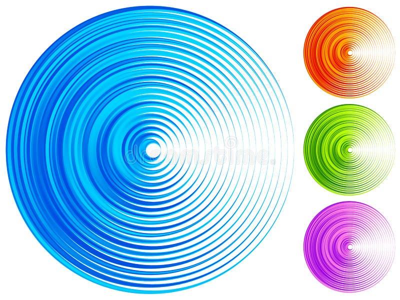 Kleurrijke concentrische cirkelelementen 4 heldere, levendige, trillende mede royalty-vrije illustratie