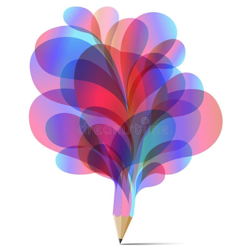 Kleurrijke concept van de het potlood vastgestelde textuur van de kunstbel het roze, blauwe en rode stock illustratie