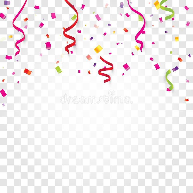Kleurrijke confettien, kronkelweg of linten die op witte transparante vectorillustratie vallen als achtergrond Partij, festival vector illustratie