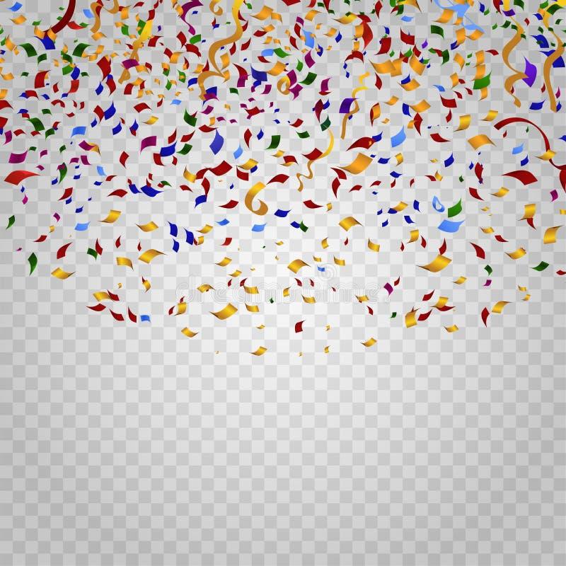 Kleurrijke confettien op geruite achtergrond Vector Malplaatje royalty-vrije illustratie