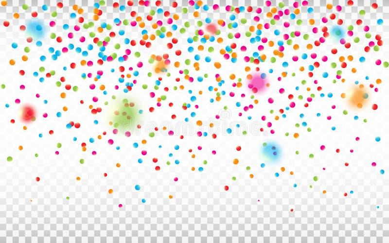 Kleurrijke confettien op transparante achtergrond De stukken van Defocusedconfettien Heldere vakantieachtergrond Vector vector illustratie