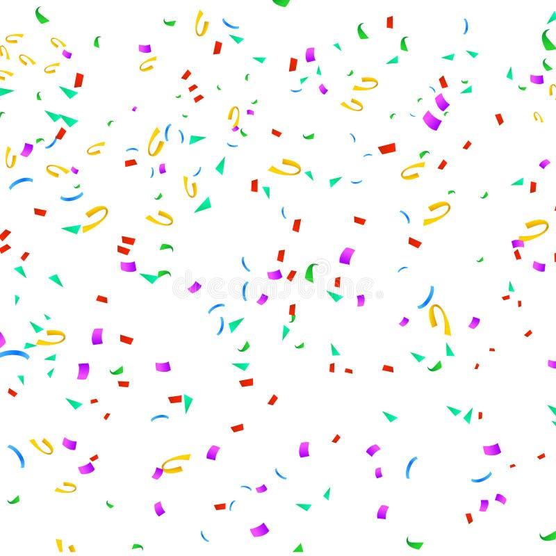 Kleurrijke confettien op wit stock illustratie