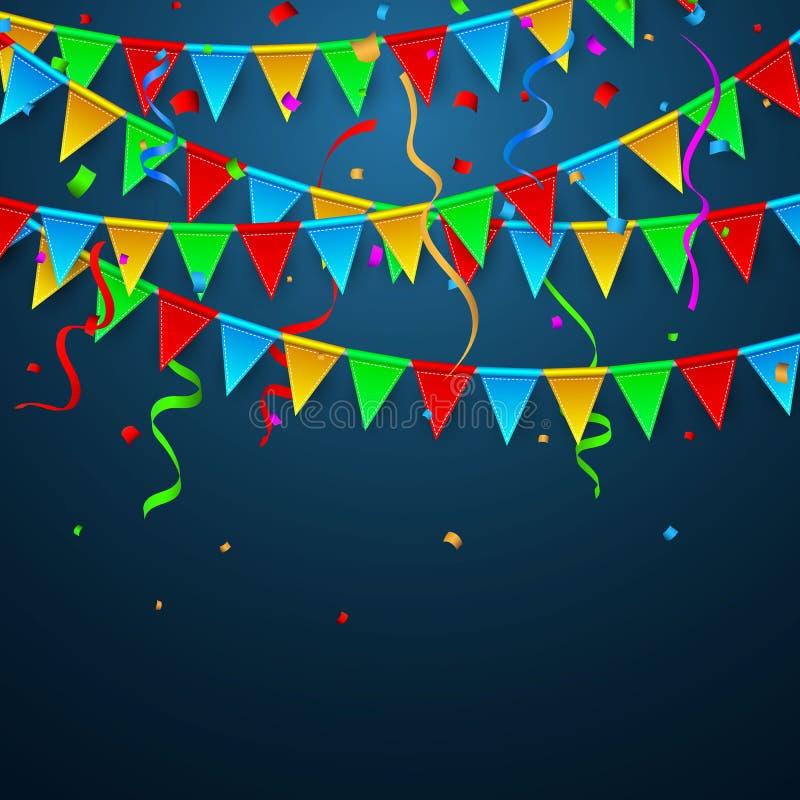 Kleurrijke confettien Viering Carnaval Partijachtergrond met Vlaggen De kaart van de luxegroet Vector illustratie stock illustratie