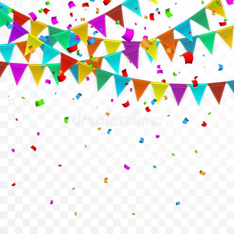 Kleurrijke confettien Viering Carnaval Partijachtergrond met Vlaggen De kaart van de luxegroet Vector illustratie royalty-vrije illustratie