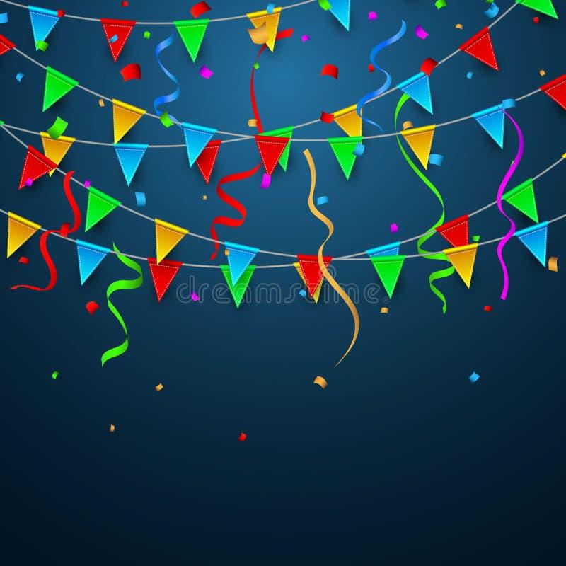 Kleurrijke confettien Viering Carnaval Partijachtergrond met Vlaggen De kaart van de luxegroet Vector illustratie vector illustratie