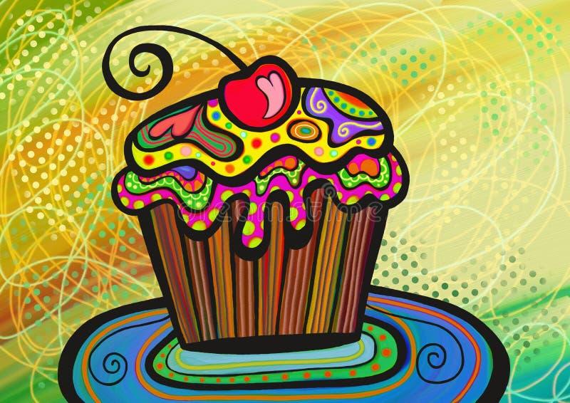 Kleurrijke cupcake stock illustratie