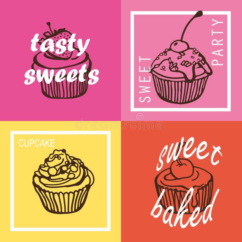 Kleurrijke cupcakeaffiches vector illustratie