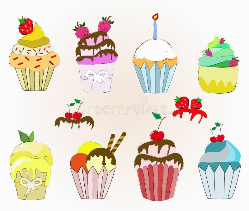 Kleurrijke cupcakes stock illustratie