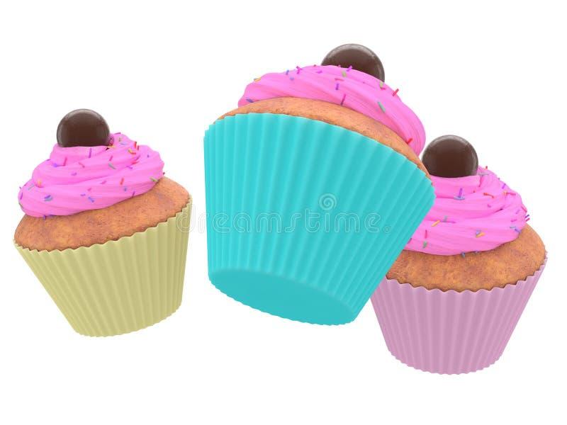 Kleurrijke cupcakes op een witte achtergrond royalty-vrije stock foto
