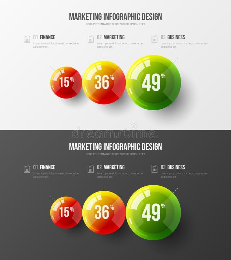 Kleurrijke 3D ballen collectieve statistieken 3 elementen infographic reeks royalty-vrije illustratie