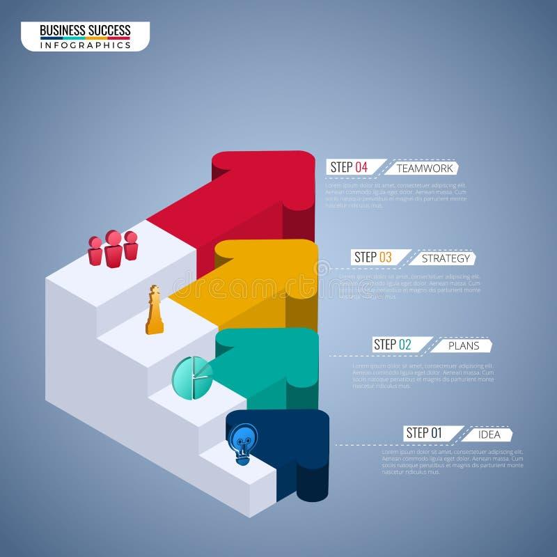 Kleurrijke 3D de tredestap van de pijlgrafiek aan succes bedrijfsconcepten infographic malplaatje kan voor werkschemalay-out, dia stock illustratie