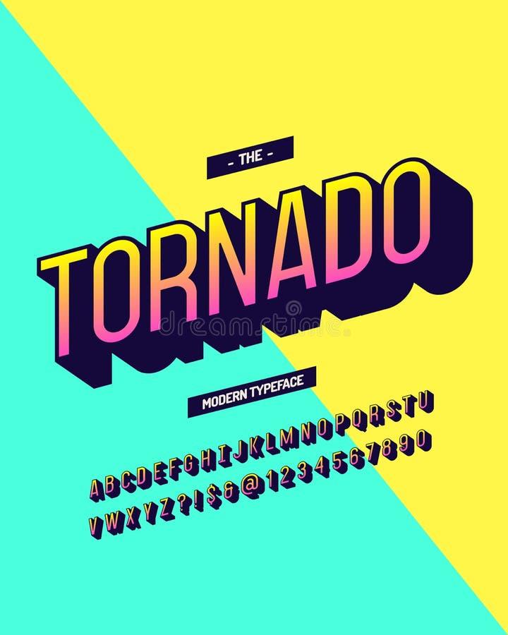 Kleurrijke 3d stijl van de tornado de moderne lettersoort Koele originele alhabet vector illustratie