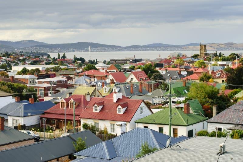 Kleurrijke daken in Hobart, Tasmanige, Australië stock foto