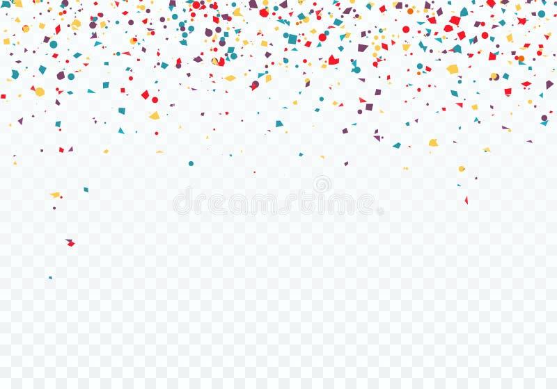 Kleurrijke dalende confettien De bovenkant van het patroon is verfraaid met confettien Vectordieillustratie op transparante achte vector illustratie