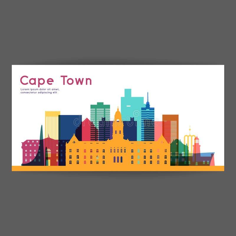 Kleurrijke de architectuur vectorillustratie van Cape Town vector illustratie