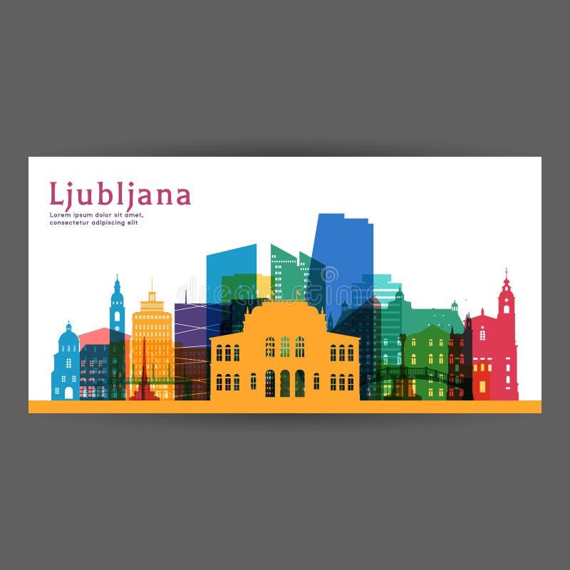 Kleurrijke de architectuur vectorillustratie van Ljubljana stock illustratie