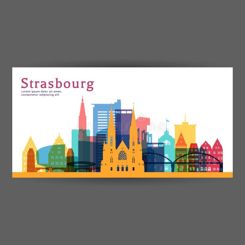 Kleurrijke de architectuur vectorillustratie van Straatsburg vector illustratie