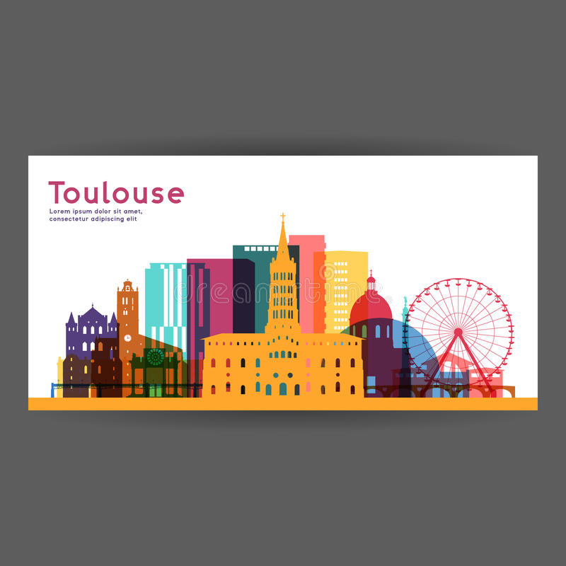Kleurrijke de architectuur vectorillustratie van Toulouse vector illustratie