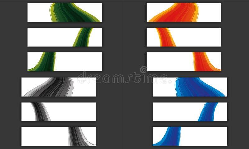 Kleurrijke de bannerinzameling van de golflijn royalty-vrije illustratie