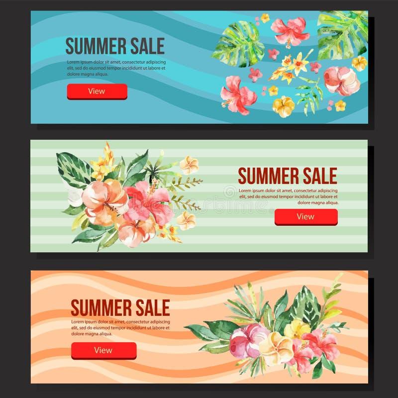 Kleurrijke de bannerwaterverf van de de zomerverkoop bloemen vector illustratie