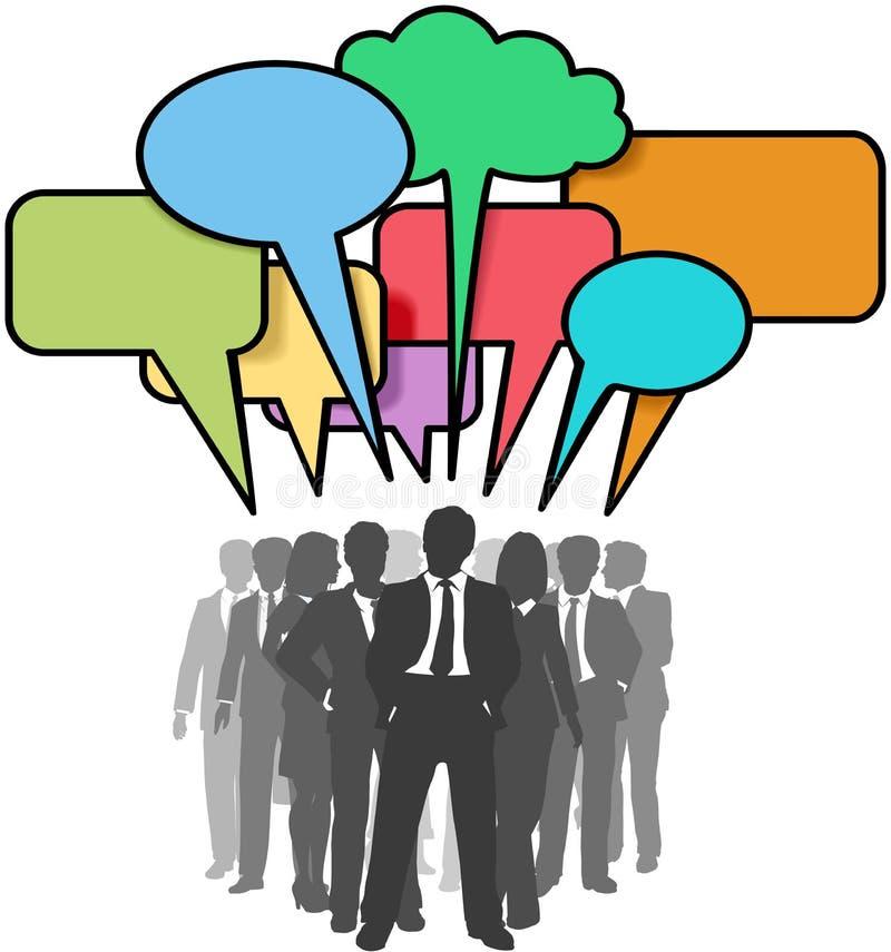 Kleurrijke de besprekingsbellen van het bedrijfsmensennetwerk vector illustratie