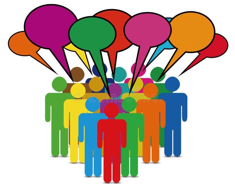 Kleurrijke de besprekingsbellen van het bedrijfsmensennetwerk royalty-vrije illustratie