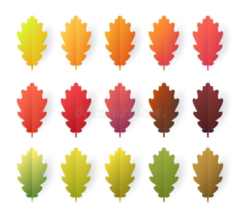 Kleurrijke de herfstbladeren geplaatst die op witte achtergrond worden geïsoleerd Het document sneed 3d vlakke stijl, vectorillus stock illustratie