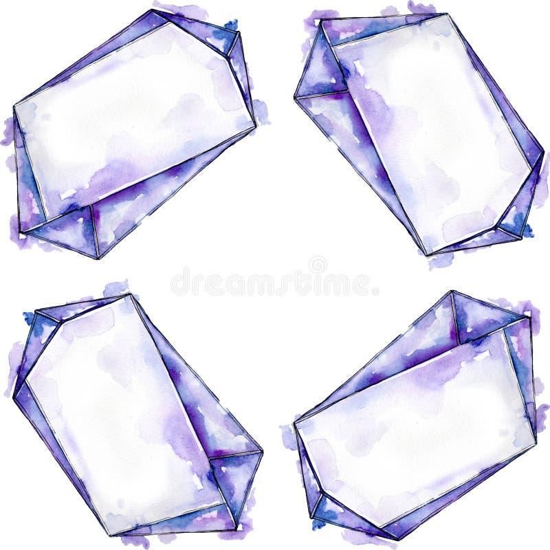 Kleurrijke de juwelenmineralen van de diamantrots De steen van het achtergrond waterverfkristal reeks Het ornamentvierkant van de stock foto