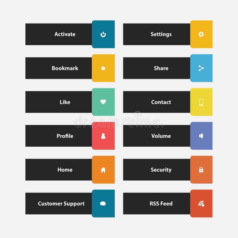 Kleurrijke de Knoopinzameling van het Webontwerp met Vlak Ontwerp stock illustratie