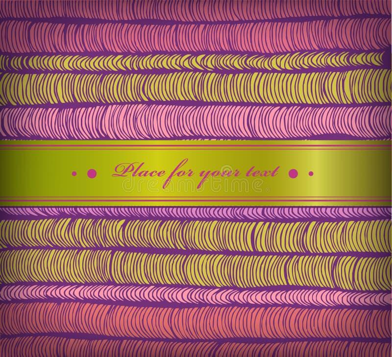 Kleurrijke de lentebanner met rijen van hand getrokken horizontale vouwen en satijnzacht lint. Leuke grens met plaats voor uw teks stock illustratie