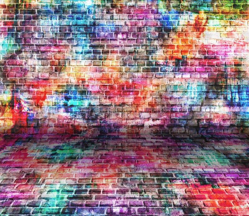Kleurrijke de muurillustratie van de grungekunst, stedelijk kunstbehang, achtergrond royalty-vrije stock foto's