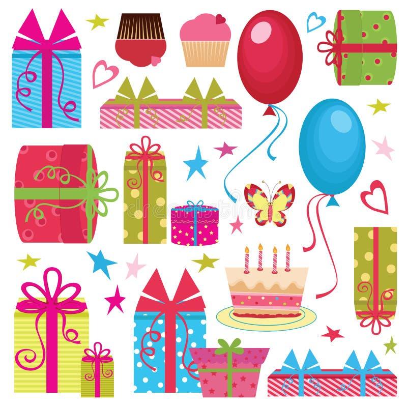 Kleurrijke de partijreeks van de Verjaardag stock illustratie
