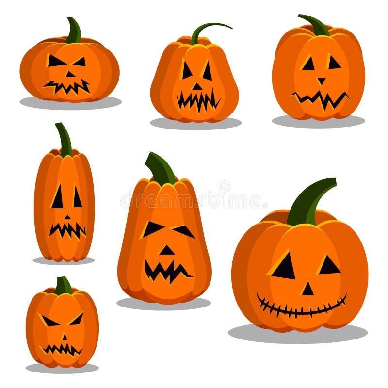 Kleurrijke de pompoenpictogrammen van de beeldverhaal vlakke stijl geplaatst tekenuitrusting van Halloween stock illustratie
