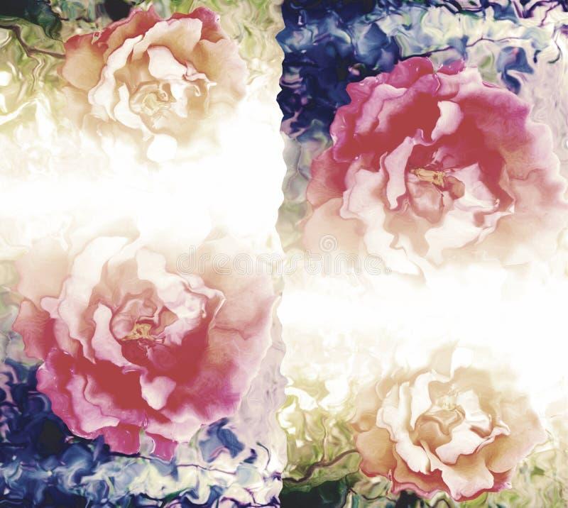 Kleurrijke in de schaduw gesteld en vaag met verlichtingseffect computer produceerden bloemenachtergrondafbeelding en behangontwe royalty-vrije illustratie