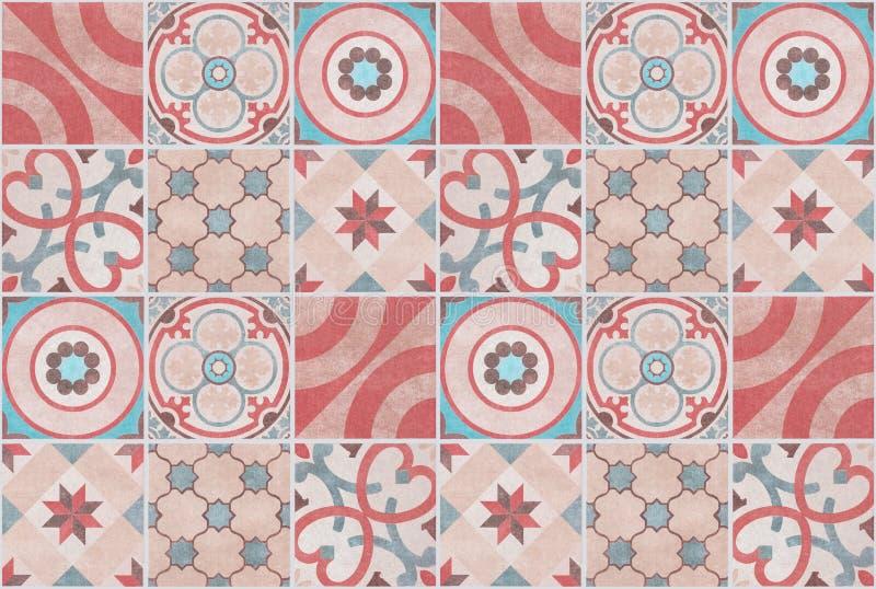 Kleurrijke de tegelachtergrond van het lapwerkpatroon - betegeld ontwerp vector illustratie