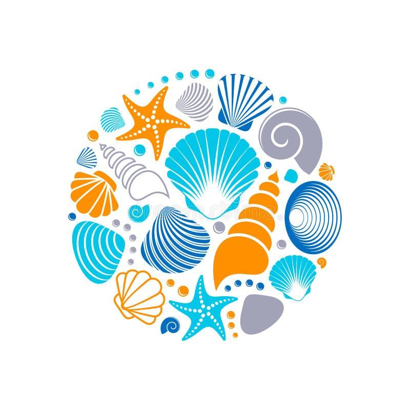 Kleurrijke de zomer overzeese shells stock illustratie