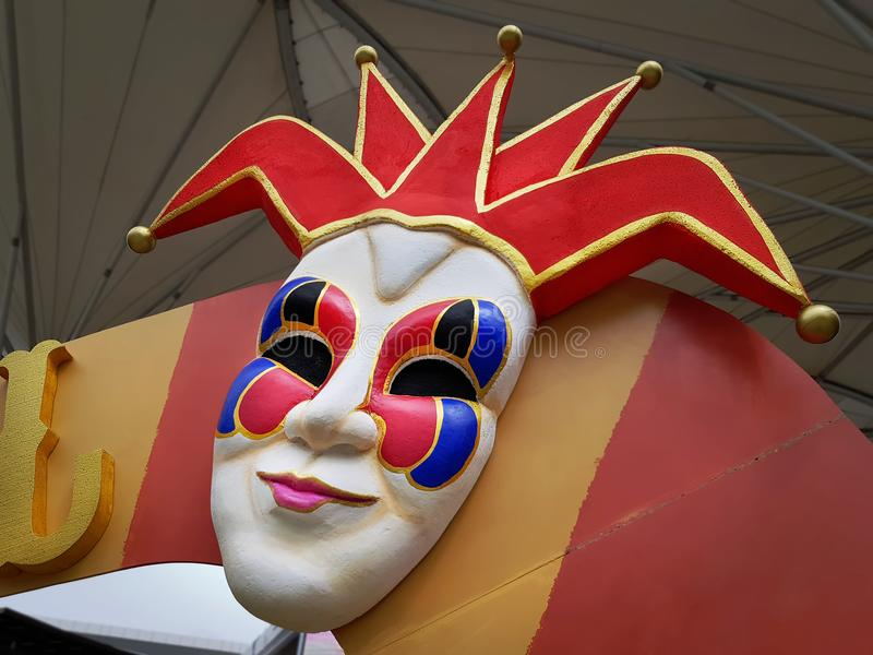 Kleurrijke Decoratieve Clown Mask in Carnaval stock fotografie