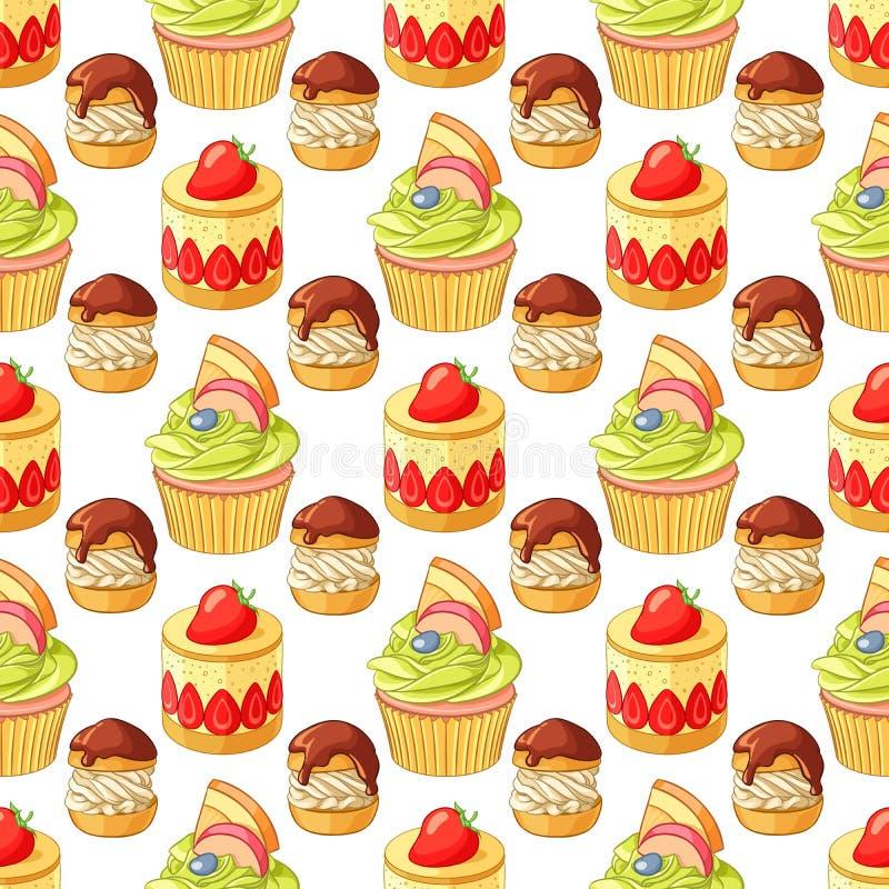 Kleurrijke desserts en gebakje naadloos vectorpatroon op witte achtergrond royalty-vrije illustratie