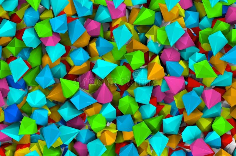Kleurrijke diamanten in strakke ruimte vector illustratie