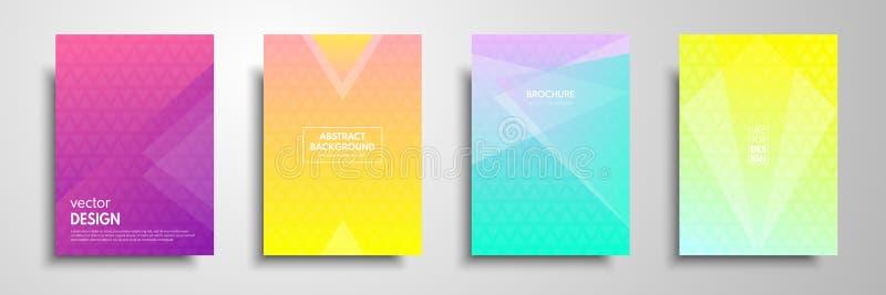 Kleurrijke die aanplakbiljetmalplaatjes met grafische geometrische elementen worden geplaatst Toepasselijk voor brochures, vliege stock illustratie