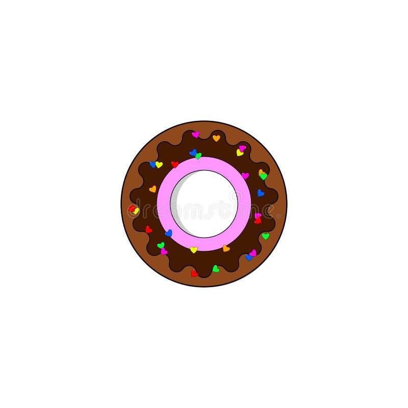Kleurrijke die doughnut op witte achtergrond wordt geïsoleerd Doughnut met chocolade Suikergoed, dessertconcept Vector vlak ontwe royalty-vrije illustratie