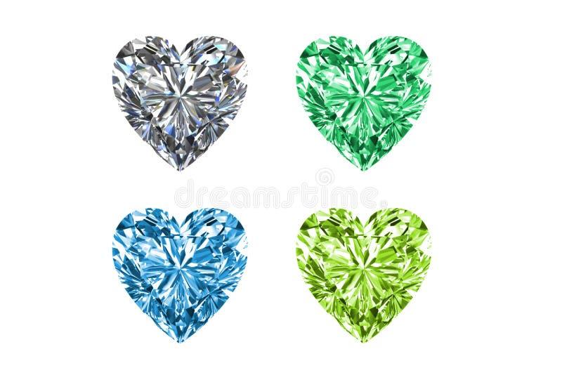 Kleurrijke die gemmen in vorm van hart op witte achtergrond wordt geïsoleerd De hoge 3D resolutie geeft terug stock illustratie