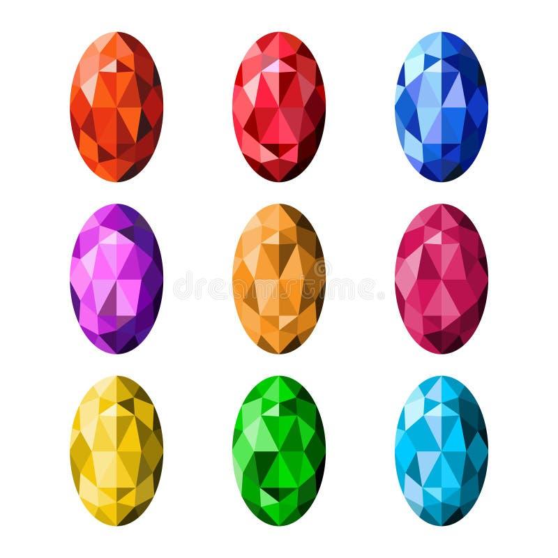Kleurrijke die halfedelstenen op witte achtergrond, verschillende kleur worden geïsoleerd royalty-vrije illustratie