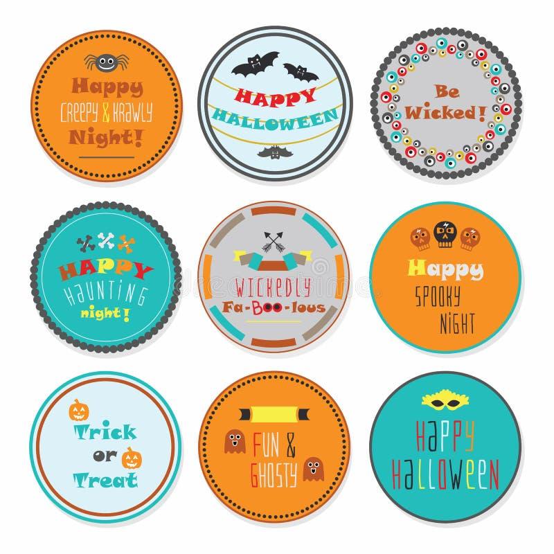 Kleurrijke die Halloween-cirkeletiketten met sommige berichten op witte achtergrond worden geplaatst vector illustratie
