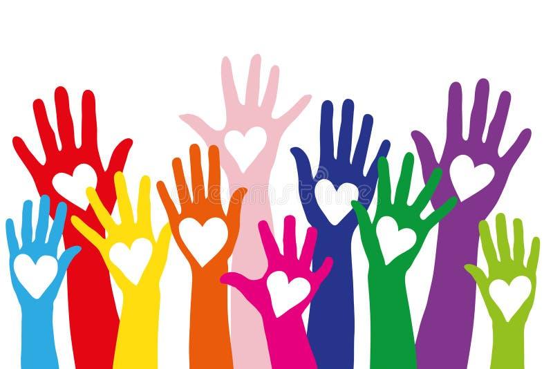 Kleurrijke die handen met een liefdesymbool als hart wordt gevormd royalty-vrije illustratie
