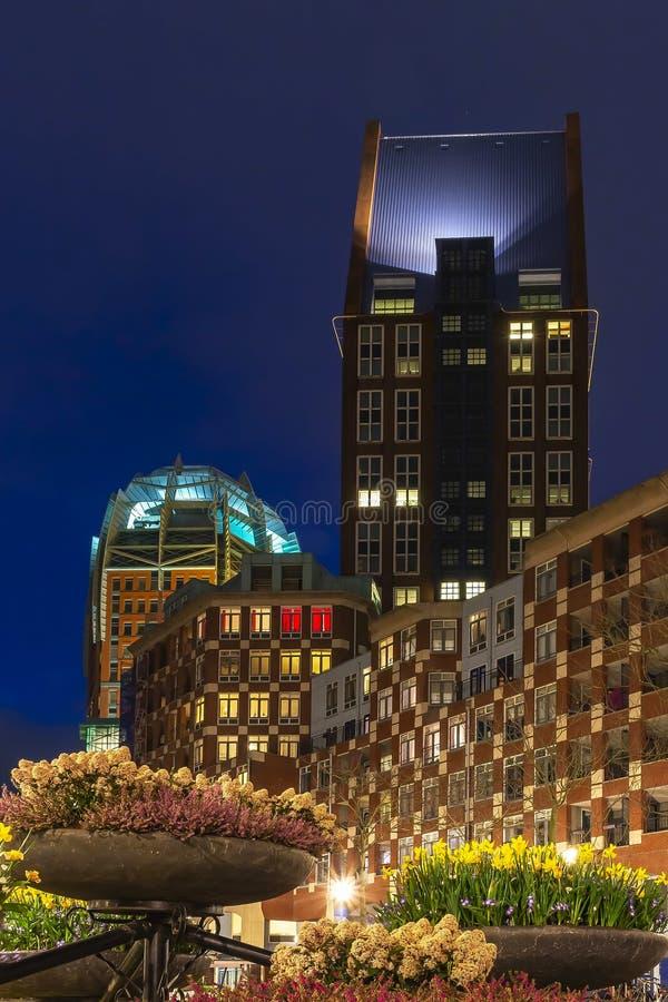 Kleurrijke die nacht van Muzenplein met ingemaakte bloemen in de voorgrond, Den Haag, Nederland wordt geschoten stock afbeeldingen