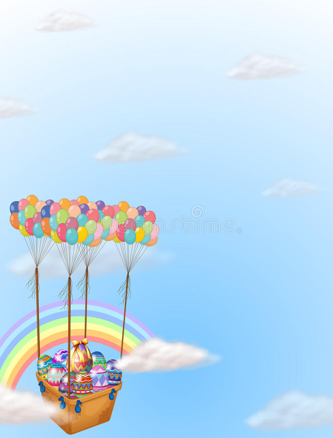 Kleurrijke die paaseieren door een groep ballons worden gedragen vector illustratie