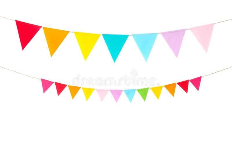 Kleurrijke die partijvlaggen op witte achtergrond, verjaardag, ann worden geïsoleerd stock illustratie